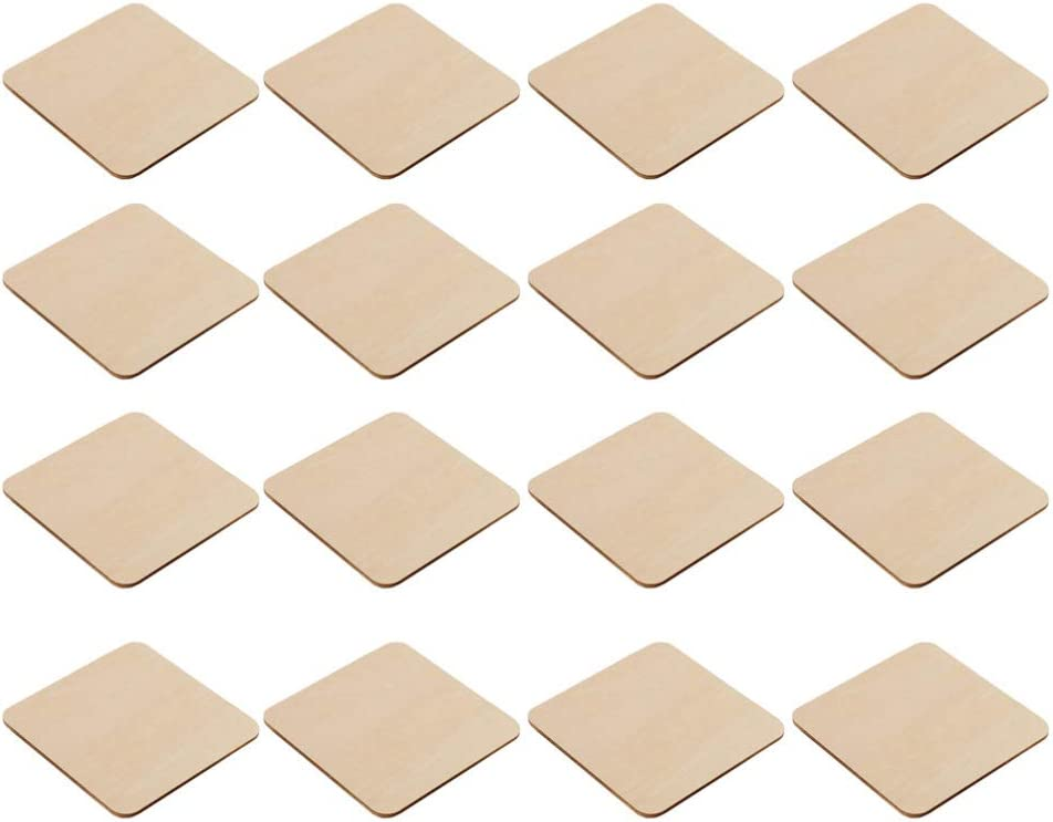 LIOOBO 40pcs Unfinished Wood Pieces Square Blank Apple Cutout Christmas Wood Blanks for DIY Craft Painting Coasters