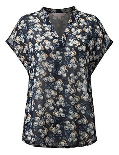 Regna X Womens Short Sleeve V Neck Casual Plus Size Blouse Tunic Tops Black XL (Ladies Short Sleeve Blouse)