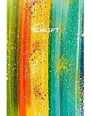Schrift: Trendy & Hip Notitieboek | Regenboog Waterverf | Groen Oranje Rood Geel Blauw | Ideaal Voor School, Studie, Recepten of Wachtwoorden