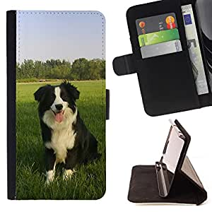 Super Marley Shop - Leather Foilo Wallet Cover Case with Magnetic Closure FOR LG OPTIMUS L90- Papillon dog Paws Cute