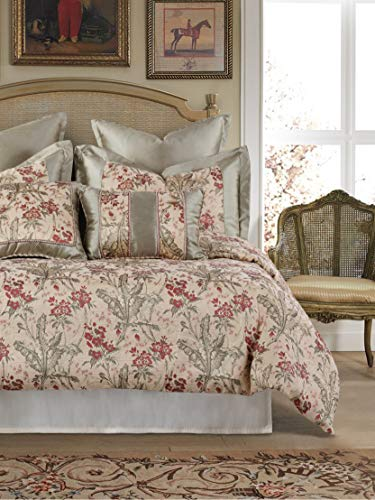American Century Home Jacquard Nicole 4 Piece Comforter Set, King, Red Green Flora