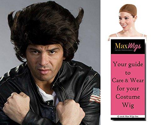 Wolfy Wolverine Color Dark Brown - Enigma Wigs X-Men Logan Jackman Mutant Bundle w/Cap, MaxWigs Costume Wig Care Guide]()