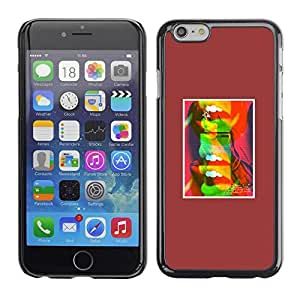 FECELL CITY // Duro Aluminio Pegatina PC Caso decorativo Funda Carcasa de Protección para Apple Iphone 6 Plus 5.5 // Abstract Lips Kiss Pop Art Minimalist