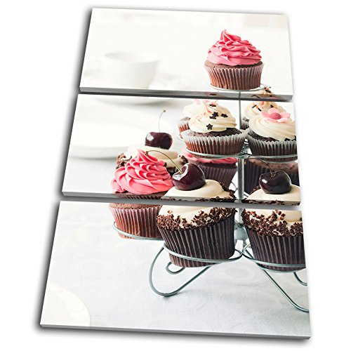 Bold Bloc Design - Food Kitchen Cherry Cupcakes - 60x40cm Canvas Art Print Box Framed Picture Wall Hanging - Hand Made In The UK - Framed And Ready To Hang