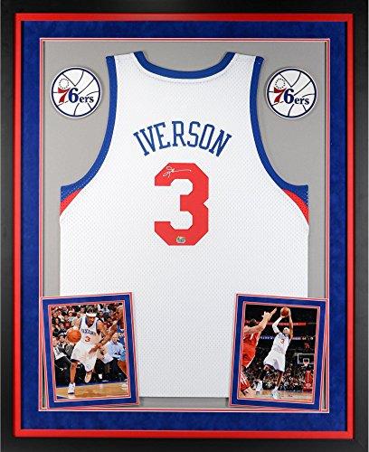 Allen Iverson Philadelphia 76ers Deluxe Framed Autographed White Swingman Jersey - Fanatics Authentic Certified