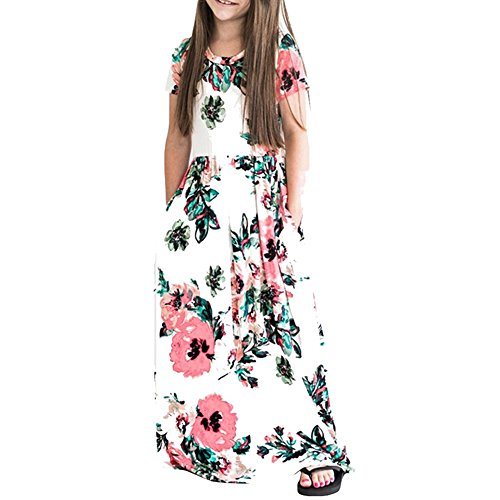 HOOYON Dresses Girl's Floral Printed Short Sleeve Casual Summer Long Maxi Dress with Pockets White S ()