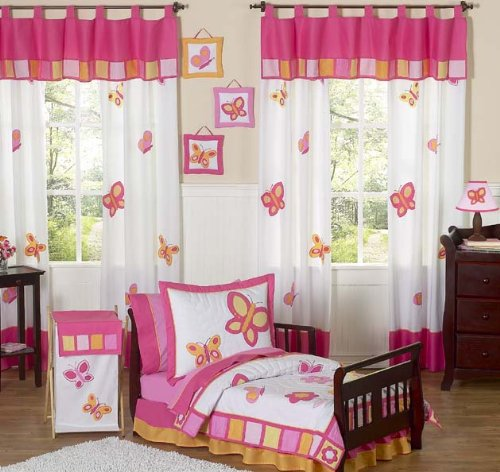Pink and Orange Butterfly Bed Skirt for Toddler Bedding Sets by Sweet Jojo Designs