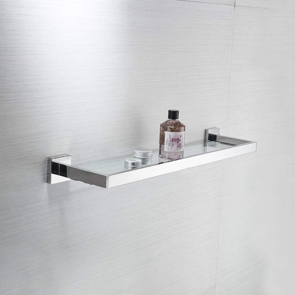 Ghelf /Étag/ère en verre murale pour salle de bains Cosm/étique pour salle de bains Rack /à couche unique Miroir Cadre avant Articles de toilette multifonctionnels Rack de rangement Tablette de rangement