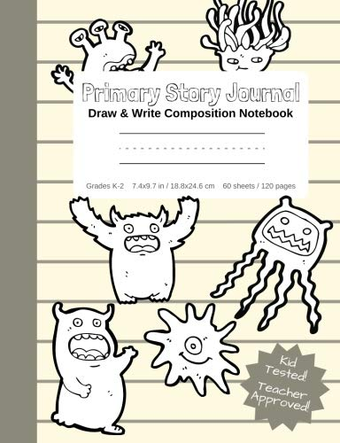 Primary Story Journal - Draw & Write Composition Notebook Grades K-2 | Cute Fun Monster Cover to Color! Kindergarten to Early Childhood Dotted Midline ... (Monster Coloring Composition Book Series) -