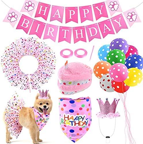 Pweituoet Dog Birthday Party Supplies – Puppy Birthday Cake Squeaky Toys/Dog Birthday Hat/Dog Bandana/Tutu Skirt/Banner/Balloon for Girl Dog Birthday Party