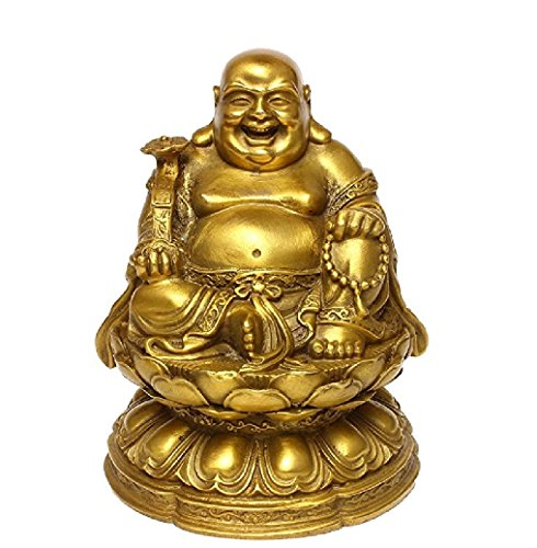 Fengshui Buddha Art Decor for Home,Brass Happy Laughing Buddha with Lucky Wish Maitreya Figures,Brass Buddhist Statues and Sculptures - Laughing Buddha Sculptures