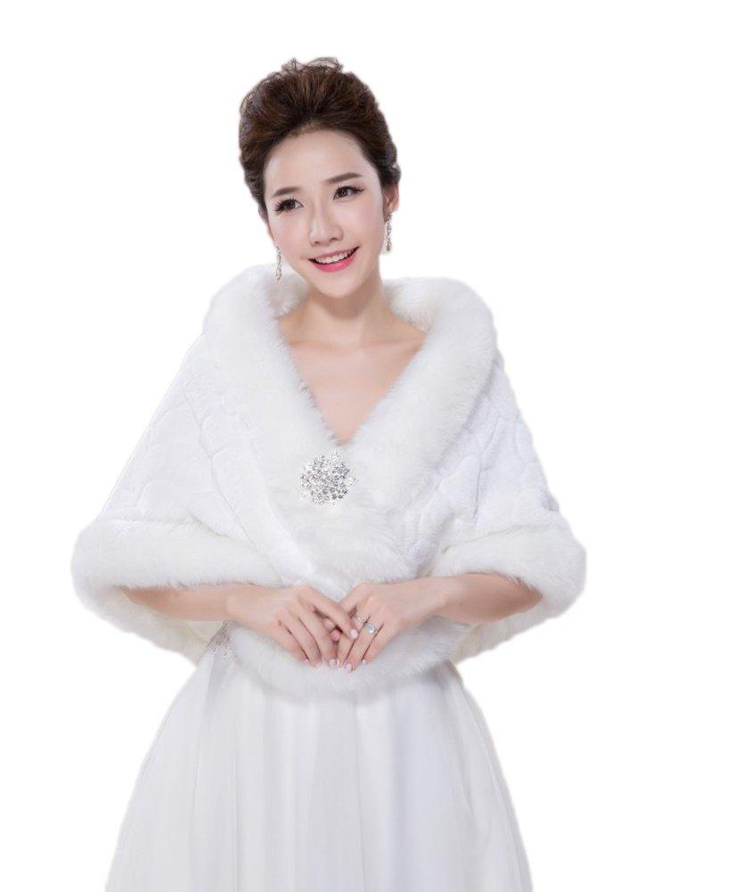 BOWITH Women Warm 8 Style Wedding Shawl Bolero Cape Faux Fur Jacket Coat Ivory 2