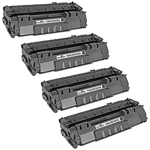 Speedy Inks - 4pk Remanufactured Replacement for HP 53A Q7553A Black Laser Toner Cartridge for HP LaserJet P2015, HP LaserJet P2015d, HP LaserJet P2015dn, HP LaserJet P2015x, HP LaserJet M2727 - P2015x Laser Printer