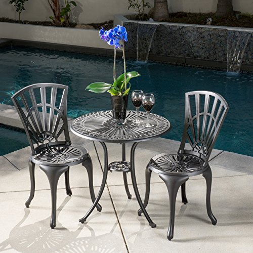 Cheap Karsten Outdoor 3pc Sand Black Cast Aluminum Bistro Set