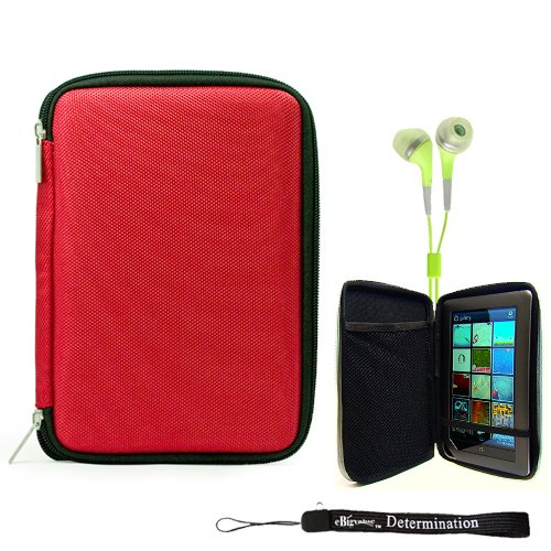 Red Slim Hard Nylon Cube Portfolio Cover Carrying Case For Barnes & Noble NOOK COLOR eBook Reader Tablet + Includes a eBigValue (TM) Determination Hand Strap + Includes a Crystal Clear High Quality HD Noise Filter Ear buds Earphones Headphones (Traveler Portfolio)