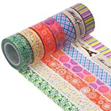 Tinksky DIY Crew Washi Tape Decorative Masking Tape For Arts Crafts Scrapbooking Supplies Planner Accessories, Pack of 10 (Random Patterns)