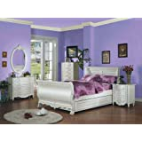 Pearl White Finish Twin Sleigh Bed 5-Pc Set by Acme