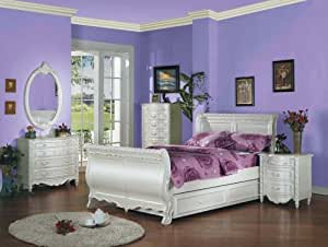 amazon com pearl white finish twin sleigh bed 5 pc set by cottage retreat twin sleigh bed 5 pc bedroom package