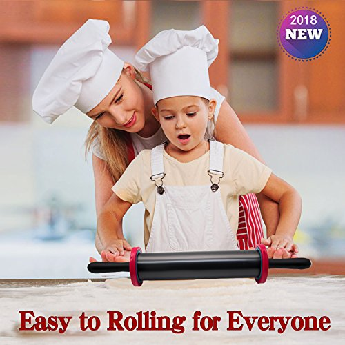 Adjustable Rolling Pin with Thickness Rings and Handles Stainless Steel for Baking Tools or Kitchen Gadgets,High Quanlity Biger Size More Force-Saving for Dough Pizza Pie Cookie by TONGS