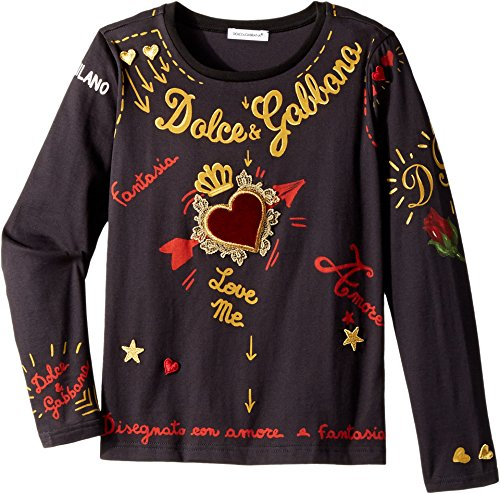 Dolce & Gabbana Kids Baby Girl's City Embroidered T-Shirt (Toddler/Little Kids) Black 4T by Dolce & Gabbana