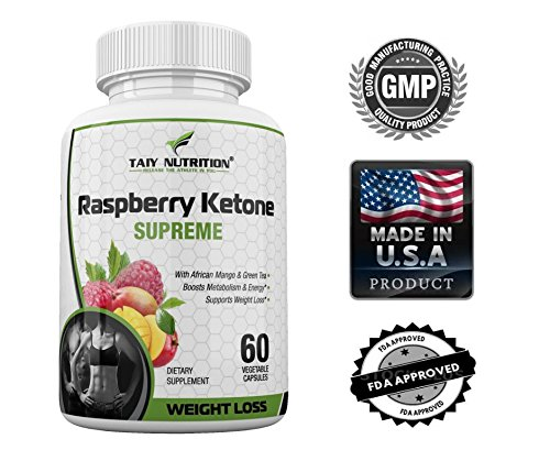 Taiy Nutrition Supreme Raspberry Ketones African Mango Green Tea and Apple Cider Vinegar Diet Capsules, Extra Strength Natural Appetite Suppressant & Weight Loss Pills, 60 x 500Mg Capsules