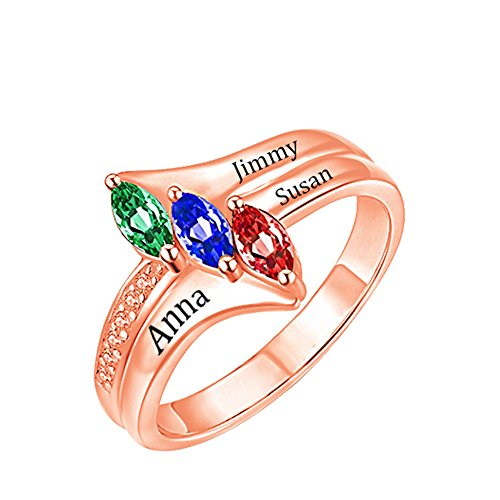 a266XDKSJK Love's Promise Custom Engraved Birthstone Rings Sterling Sliver Wedding Engagement Rings Family Personalized Name Rings(rose-gold 10)