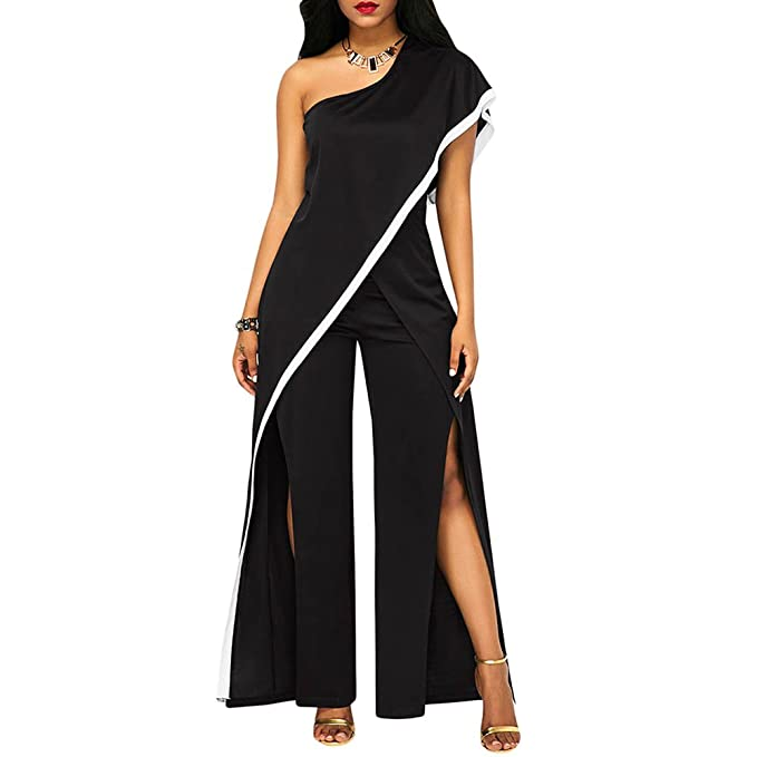 86ce09bc8df0 Amazon.com  Frozac One Shoulder Wide Leg Jumpsuits Black Women Sexy Split  High Waist Party Rompers Elegant Jumpsuit Ladies Long Playsuits Overalls   Clothing