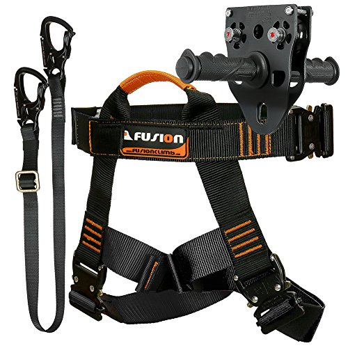 Fusion Climb Tactical Edition Adults Commercial Zip Line Kit Harness/Lanyard/Trolley Bundle (Best Zip Line Components)