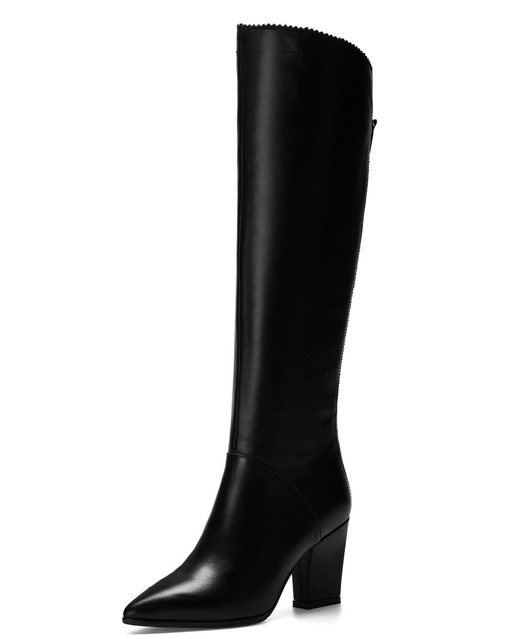 Nine Seven Genuine Leather Women's Pointed Toe Chunky Heel Style Handmade Dressy Knee High Boot (8, Black)