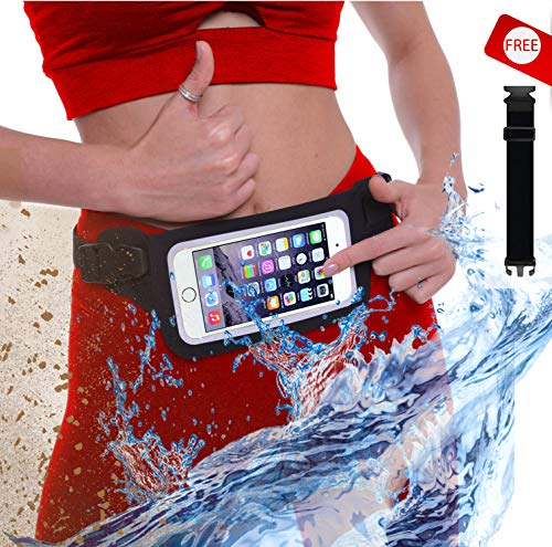 New Waterproof Running Belt Fanny Pack for iPhone 7, X, 8, 8 Plus & Android Samsung S7/8/9 - W/Touchscreen Cover - IPX8 Rated Waist Bag Pouch for Fitness, Travel, Beach, Kayaking, Fishing and More!