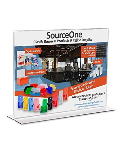 Source One 11 x 8.5 Inches Sign Holder Upright Clear Acrylic Display Ad Frame (3 Pack)