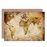 World MAP Vintage Cartography Blank Greetings Birthday Card Art