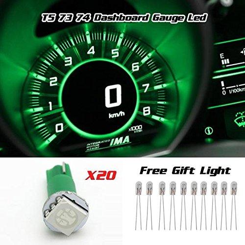 (Partsam 20pcs T5 74 5050 1-SMD Car Dashboard Gauge Side LED Light Bulbs Lamp 12V Green)