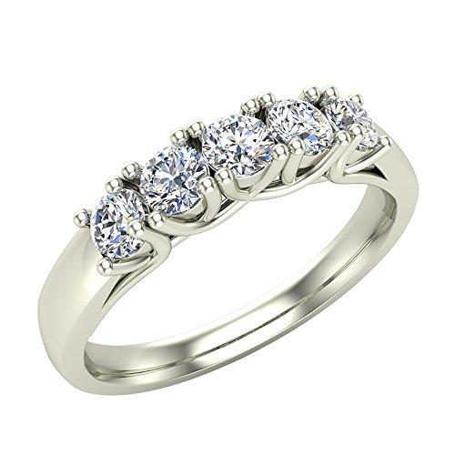 14K White Gold Five-Stone Wedding Band Classic Trellis Setting Diamond Ring 0.75 ct tw (Ring Size (Trellis Engagement Setting)
