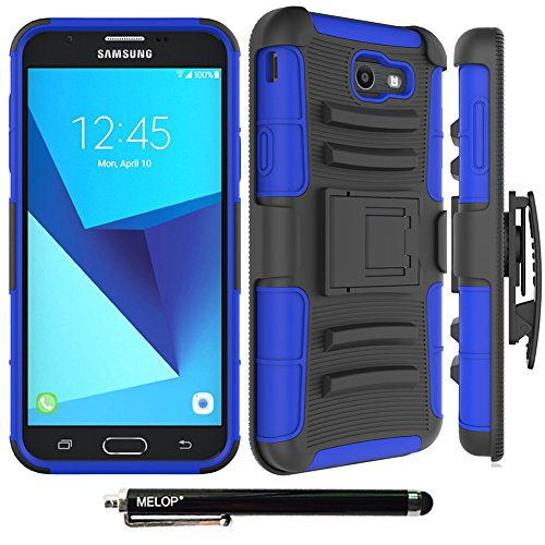 Case for Galaxy J7 2017/ J7 V / J7 Prime / J7 Perx / J7 Sky Pro/ Galaxy Halo Case, MELOP Three Layer Swivel Belt Clip With Kickstand Holster Built-In Armor Case for Samsung Galaxy J7 2017 - Blue
