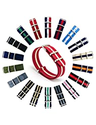 CIVO Watch Bands NATO Premium Ballistic Nylon Watch Strap Stainless Steel Buckle 18mm 20mm 22mm with Top Spring Bar Tool and 4 Spring Bars Bonus (Crimson/Khaki, 22mm)