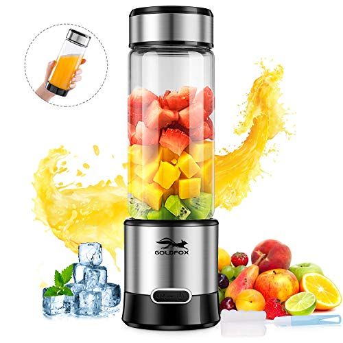 GOLDFOX Portable Blender USB Rechargeable Personal Blender for Shakes and Smoothies, 15oz Detachable Juicer Cup Single Serve Smoothie Blender Fruit Mixer for Outdoor, FDA BPA Free (with Bottle Brush)