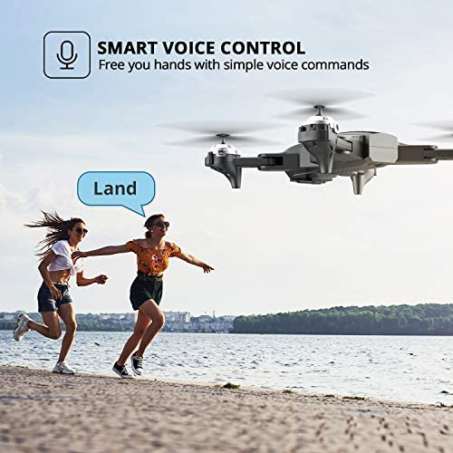 DEERC D10 Foldable Drone with Camera for Adults 720P HD FPV Live Video, Tap Fly, Gesture Control, Selfie, Altitude Hold, Headless Mode, 3D Flips, Quadcopter for Kids Beginners with 2 Batteries 24mins 515n4SwD5JL