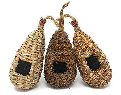 Set of 3 Hand Woven Teardrop Shaped Small Hanging Birdhouses