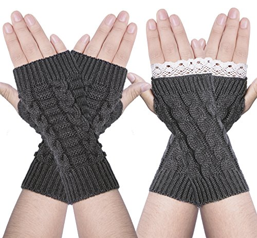 Chalier 2 Pairs Womens Winter Knit Fingerless Gloves Thumbhole Short Arm (Knitted Fingerless Gloves)