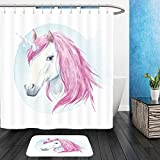 Vanfan Bathroom 2 Suits 1 Shower Curtains & 1 Floor Mats watercolor illustration of a unicorn with pink mane watercolor background a fabulous animal print 518396254 From Bath room