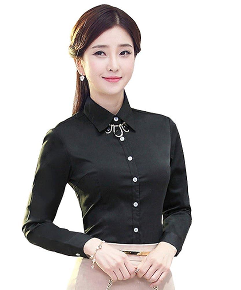 Jzoeoeu Womens Chiffon Dress Shirt Long Short Sleeve Button Down