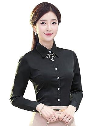 0d6e582d8412e JZOEOEU Women s Long Sleeve Slim Blouse Button Down Shirts Professional  Cotton Black Dress Shirts Asian tag