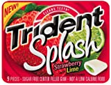 Trident Splash Strawberry Gum with Lime, 9-Piece Packages (Pack of 30)