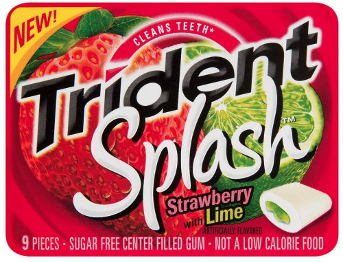 Trident Splash Strawberry Gum with Lime, 9-Piece Packages (Pack of 30) by Trident