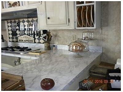 Marble Countertop Transformation w/White Grey Faux Marble Film 3' W x 6'L by EzFaux Decor LLC