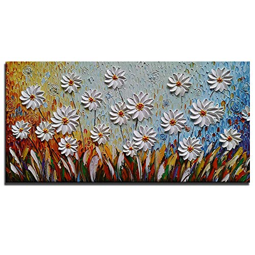 Azure Art-3d Hand-Painted White Daisy Artwork on Canvas Painting Contemporary Art Modern Wall Art for Living Room Bedroom Dinning Room Bathroom Decoration Ready to Hang Framed Wall Pictures(20X40inch)