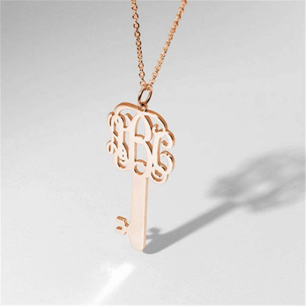Custom Made Pendant with Any Initials YINSHIFU Personalized Monogram Necklace Rose Gold Plated Key Necklace