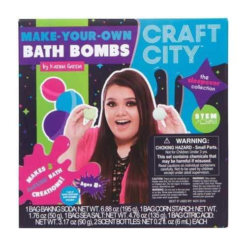 Craft City Karina Garcia DIY Make Your Own Bath Bomb Kit | Makes 3 All-Natural Bath Bombs | Sleepover Collection | Sphere & Teddy Bear Molds | Lavender & Jasmine Scents | Multi-Colored | Essential set