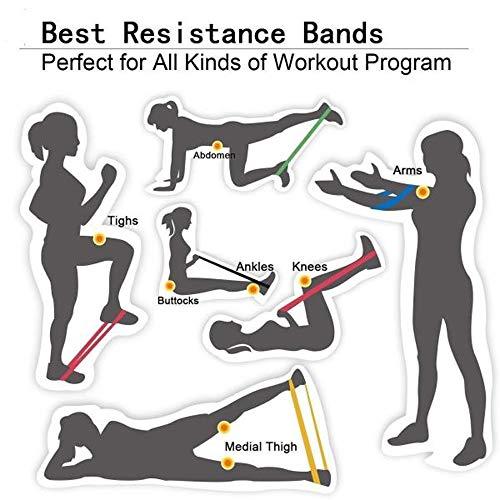 Faixa Elástica Pood Resistance Loop Bands - 5 Faixas Super Band Elástico Extensor para yoga fitness